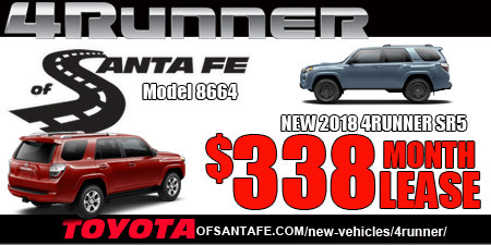 New 2018 4Runner  4WD. model 8664. $338/month or $78/week