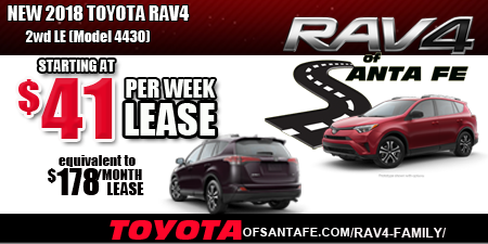 Rav4 of Santa Fe $41/week. equiv to $178/month. Model 4430.