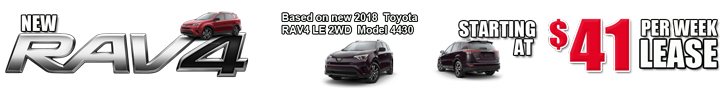 Rav4 $41 per week or 178 per month Home Banner