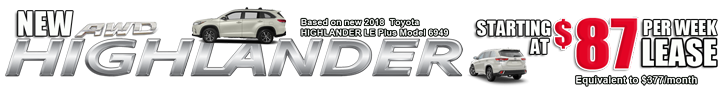 New AWD Highlander $87/month equiv $377 model 6949 homen slider