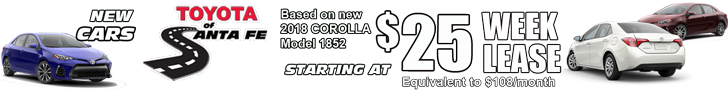 New cars starting at $25 per week. equiv to $108/month model 1852. Home Page banner