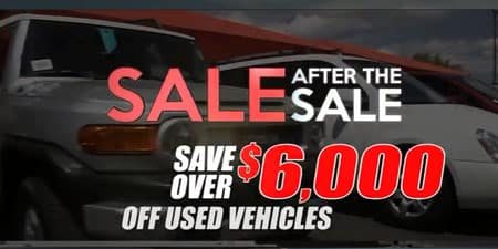Save $6000 off used vehicles Sale after Sale