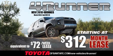 New 2018 4Runner  4WD. model 8664. $312/month or $72/week