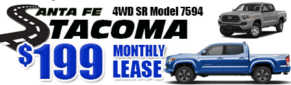 New 2020 Tacoma Model 7594 Double Cab SR V6 SHORT BED 4WD   $199/month lease