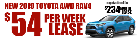 New 2019 Rav4 AWD Model 4432 starting at $54week or  $234/month