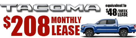 New 2019 Tacoma Model 7594 Double Cab SR V6 SHORT BED 4WD  $54/week $234/month lease