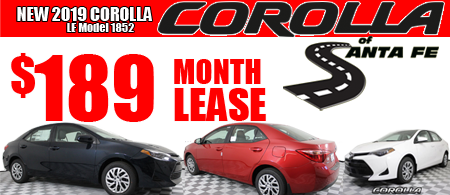 New 2019  Corolla Model 1852.  $189/month