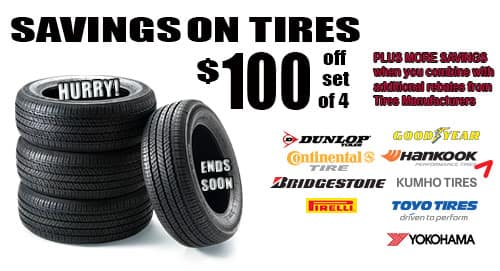 Get $100 when you buy 4 tires
