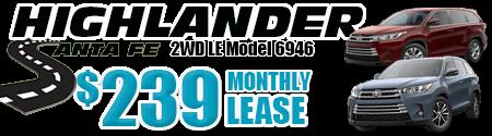 New 2019 Highlander LE V6 FWD Model 6946    $239/month