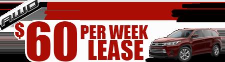 New 2019 Highlander LE V6 AWD Model 6948    $60/week or  $260/month lease
