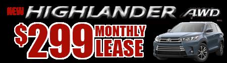 New 2019 Highlander LE V6 AWD Model 6948    $299/month lease