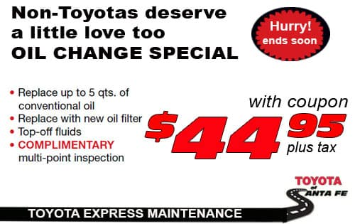 Toyota Synthetic Oil Change Coupon >> Oil Change 44 95 Toyota Of Santa Fe