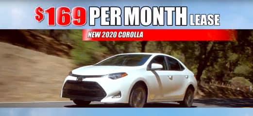 new 2020 Corolla $169 per month lease