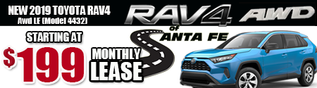 New 2019 Rav4 AWD Model 4432 starting at  $199/month