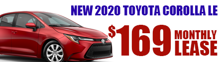 New 2020  Corolla LE  Model 1852.  $169 per month