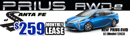 New 2019  Prius AWD LE  Model 1263  $259 per month
