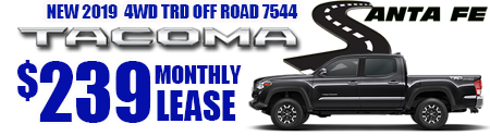 New 2019 Tacoma Model 7544 Double Cab TRD OFF ROAD 4WD   $239/month lease