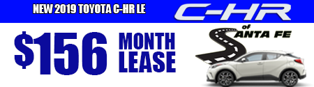 New 2019 C-HR LE Model 4402 starting at  36/week or $156/month