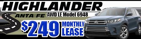 New 2019 Highlander LE V6 AWD Model 6948    $249/month lease