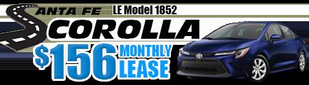 New 2020  Corolla LE  Model 1852.  $156 per month