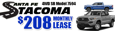 New 2019 Tacoma Model 7594 Double Cab SR V6 SHORT BED 4WD   $208/month lease
