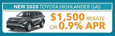 2020 Highlander Gas $1500 rebate or .9% apr
