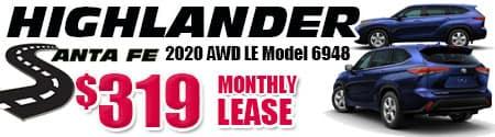 New 2020 Highlander LE V6 AWD Model 6948   $319/month