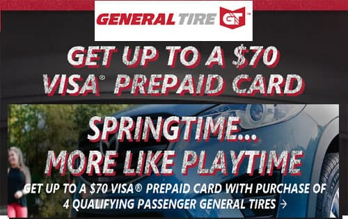 General Tire $70 VISA PREPAID CARD with 4 qualifying purchase