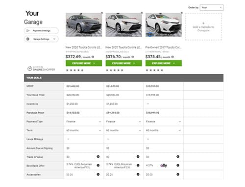 Online Shopper Garage side by side compare