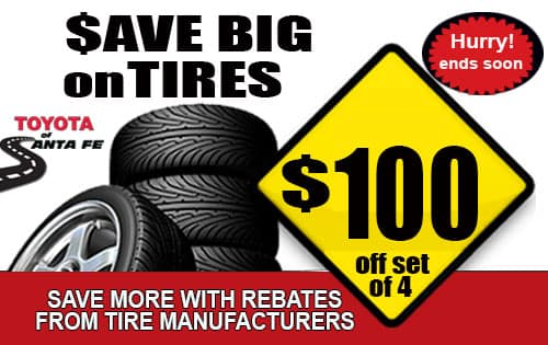 Save 100 off set of 4 tires