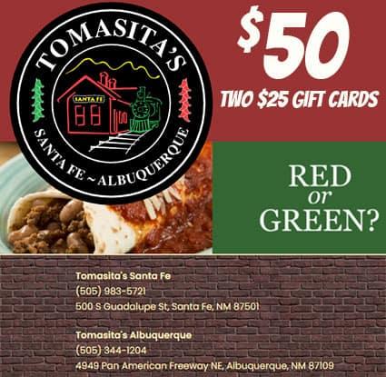 Tomasitas $50 on gift card