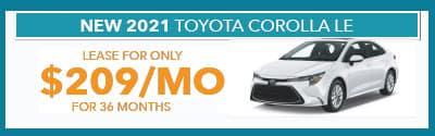 2021 Corolla $209/month