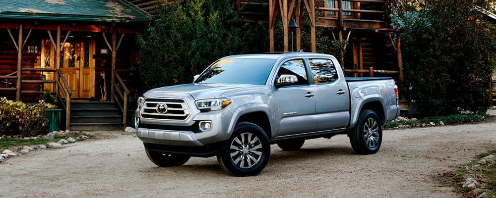parked silver 2020 toyota tacoma truck