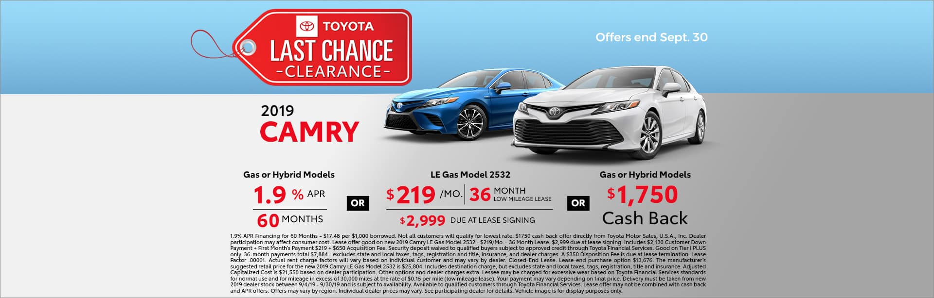 last chance clearance camry