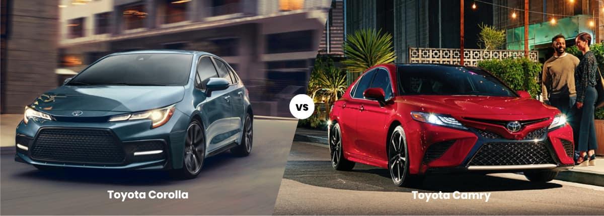 2021 Toyota Corolla vs Toyota Camry comparison banner