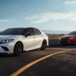 two different 2020 Toyota Camry configurations driving on highway