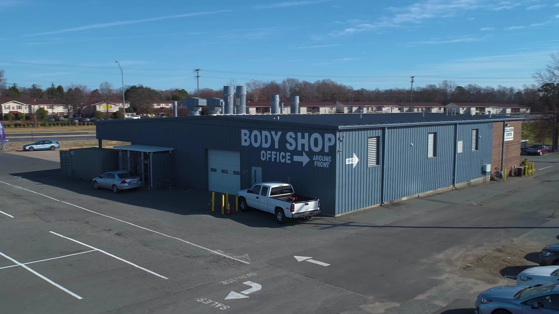 Drone shot of Williams Auto body shop in Charlotte, NC