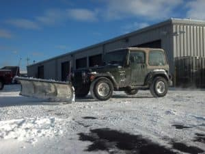 Zimmer Jeep plowing snow