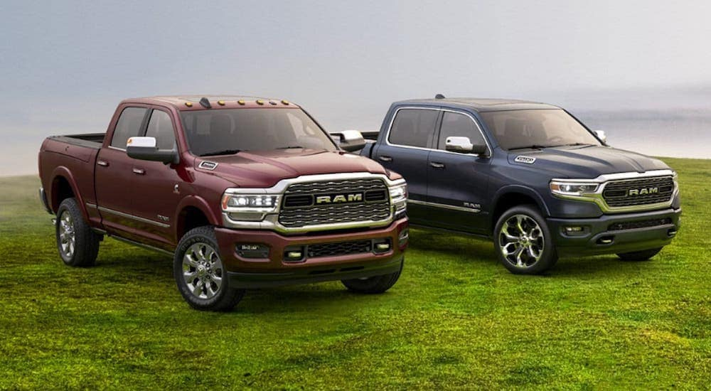 A maroon and a blue Ram 1500 are parked on a grassy field in Florence, KY.