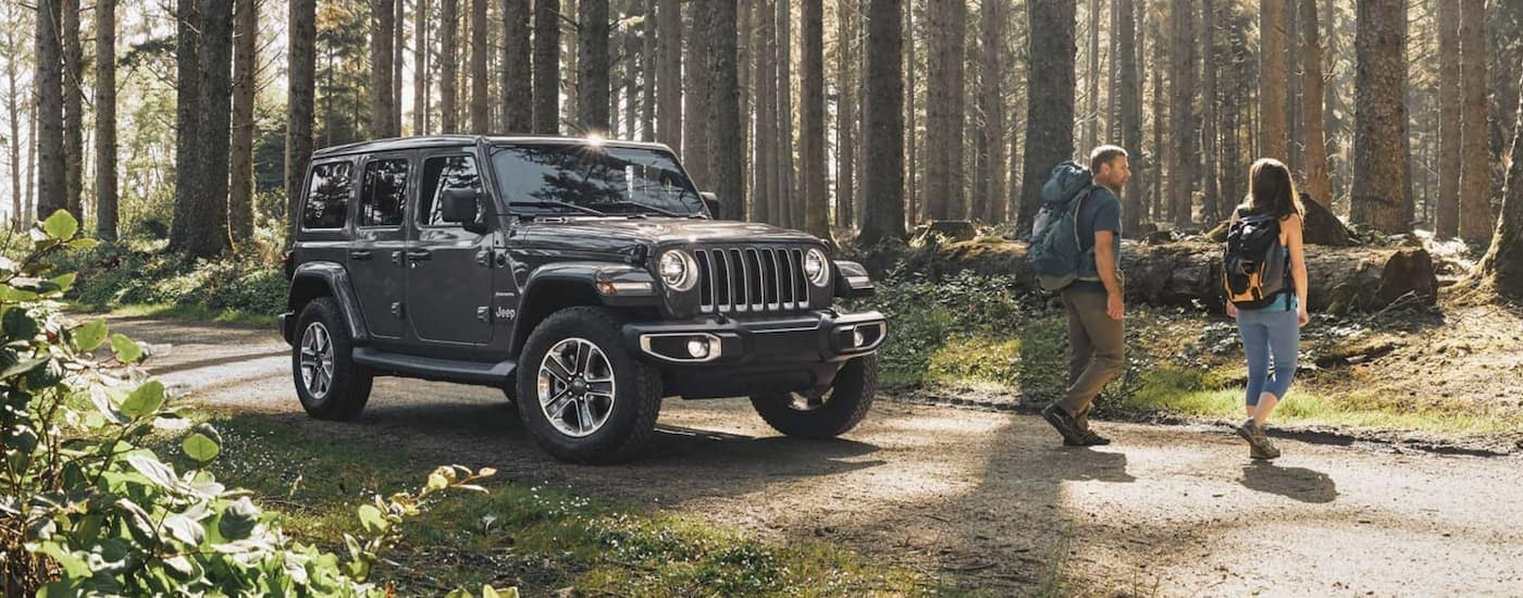A couple is walking away from a grey 2020 Jeep Wrangler Unlimited to go hiking in the woods.