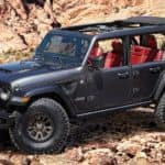 The black V8 Wrangler Rubicon 392 Concept is shown in a desert.