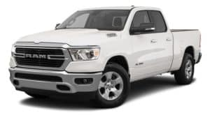 A white 2021 Ram 1500 is angled left.