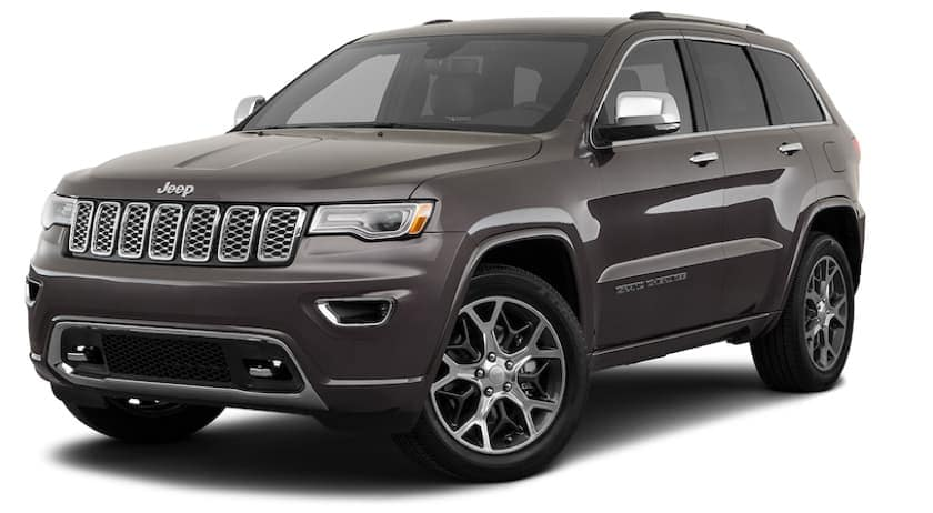 A dark gray 2021 Jeep Cherokee Overland is angled left.