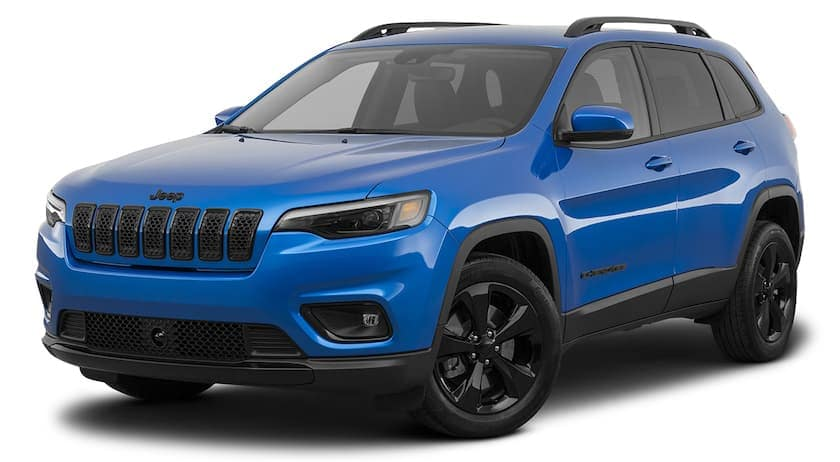 A blue 2021 Jeep Cherokee is angled left.