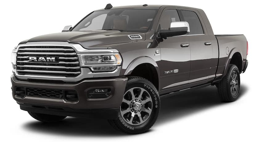 A grey 2021 Ram 2500 is angled left.