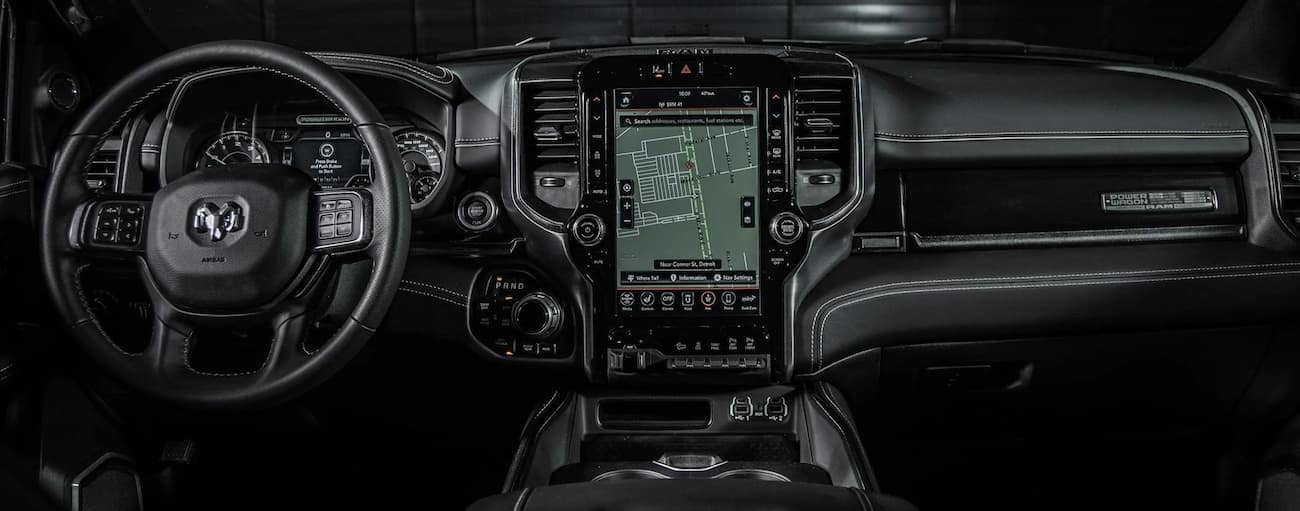 The black dashboard of a 2021 Ram 2500 is shown.