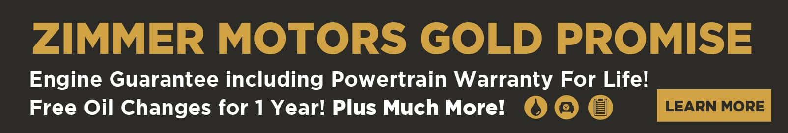 Zimmer Motors Gold Promise - Engine Guarantee including Powertrain Warranty for Life, Free Oil Changes for 1 year and Much More
