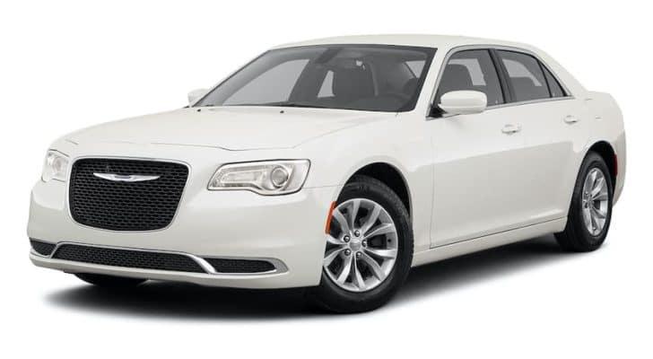 A white 2021 Chrysler 300 is angled left.