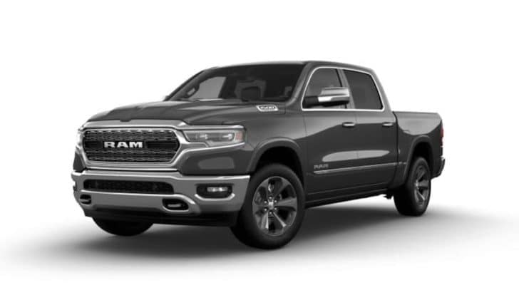 A grey 2022 Ram 1500 is angled left.