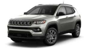 A silver 2022 Jeep Compass Latitude LUX is angled left.